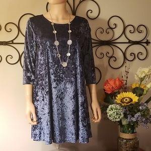 Cornflower Blue Crushed Velvet Dress